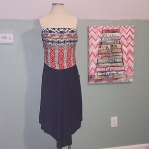 *Plus* Colorful Strapless Romper With Pockets